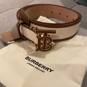BNWT Burberry TB logo canvas and leather belt